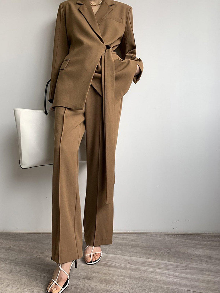 Brown Pleated Wide Leg Pants - Slowliving Lifestyle