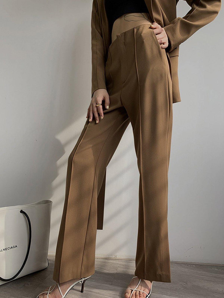 Design Wrap Suit Blazer in Coffee Brown - Slowliving Lifestyle