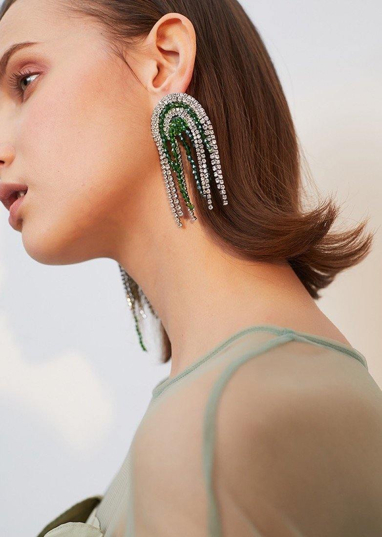 Artificial Rhinestone Tassel Earrings