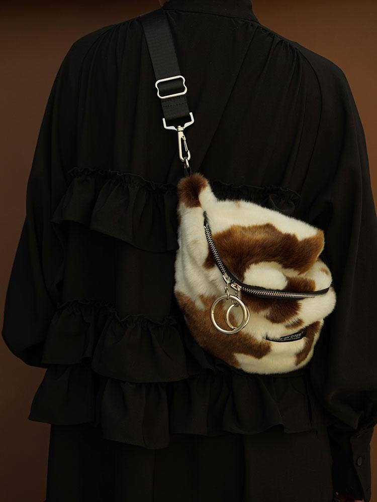 HIDDENNOTES Cow Print Faux Fur Crossbody Bag