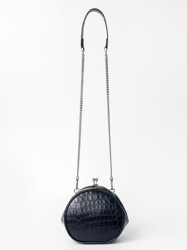 Dirty Six Fine Leather Chain Clutch - Black - Slowliving Lifestyle