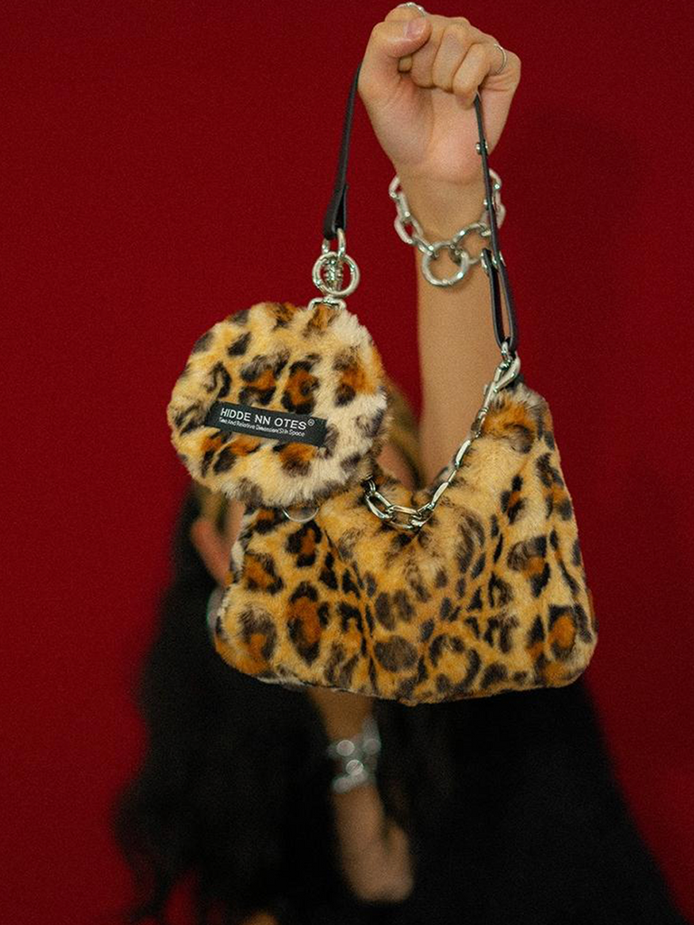 HIDDENNOTES Leopard Print Faux Fur Shoulder Bag - Slowliving Lifestyle