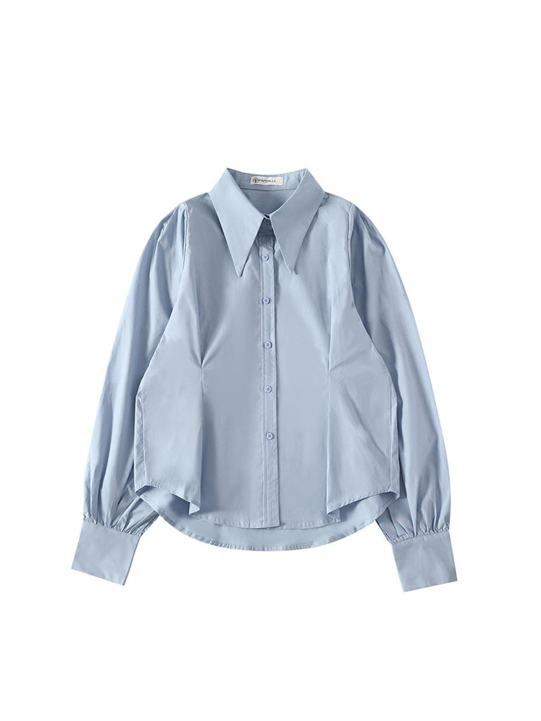 Puff Sleeve Shirt - Blue - Slowliving Lifestyle