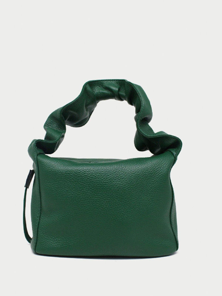 Buffed Leather Top Handle Bag - Green - Slowliving Lifestyle