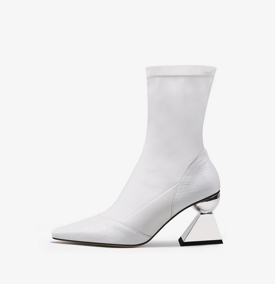 Socks Design Ankle Boots with Sculptural Heels