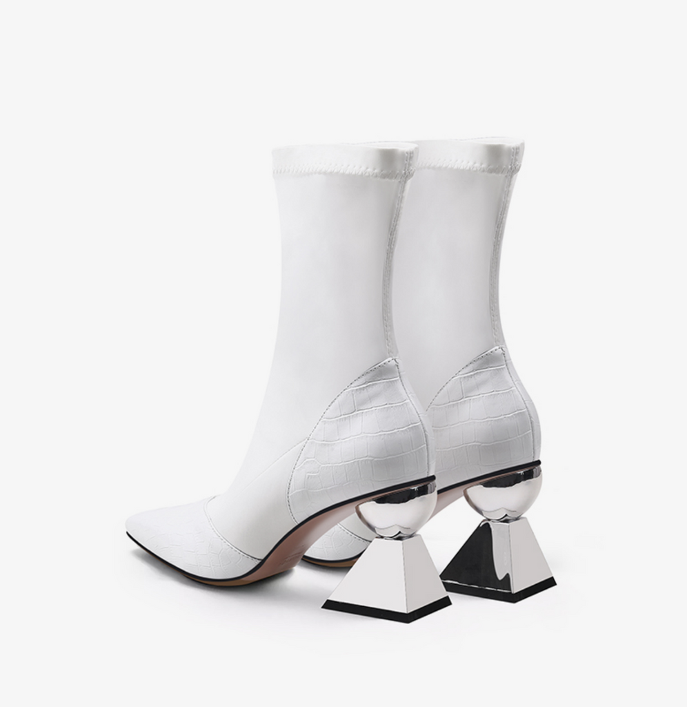 Socks Design Ankle Boots with Sculptural Heels - Slowliving Lifestyle