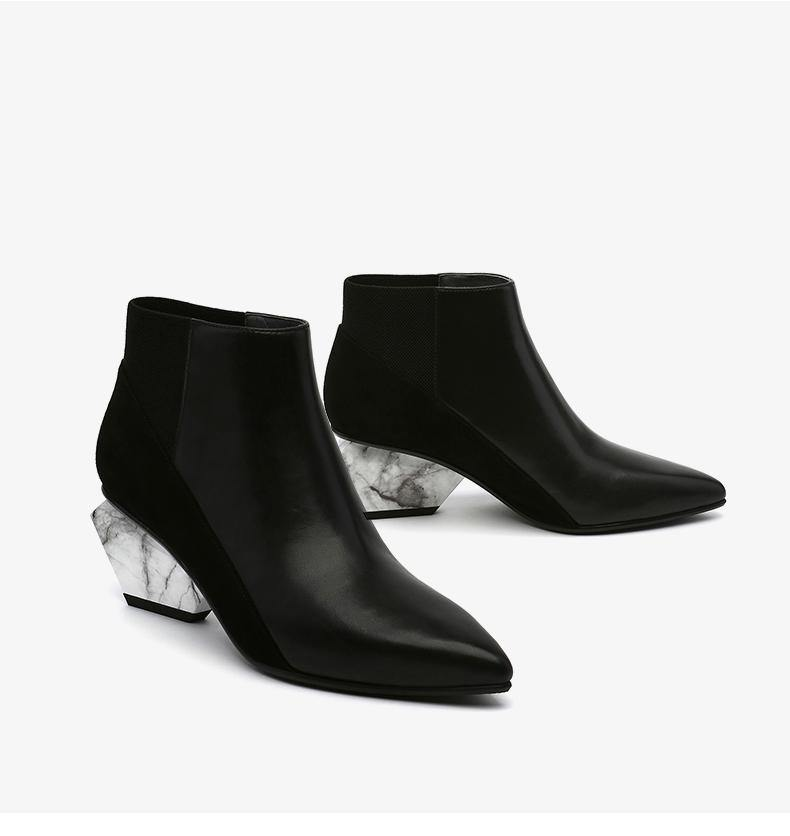 Mid Heel Pointed Toe Color Block Ankle Boots - Slowliving Lifestyle