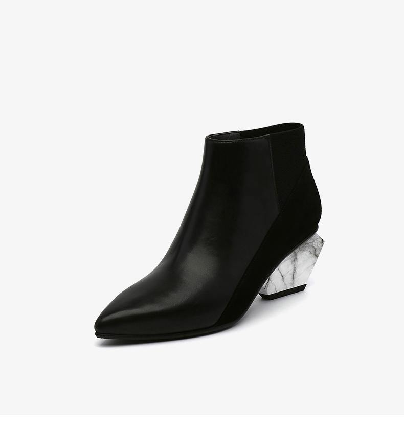 Mid Heel Pointed Toe Color Block Ankle Boots