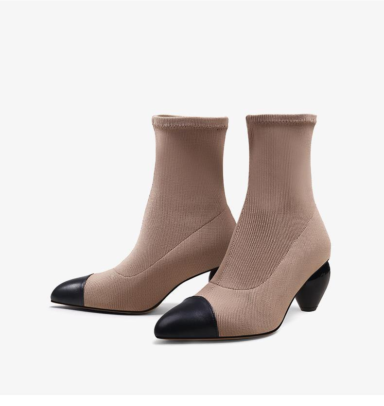 Mid Heel Pointed Toe Ankle Knit Sock Boots