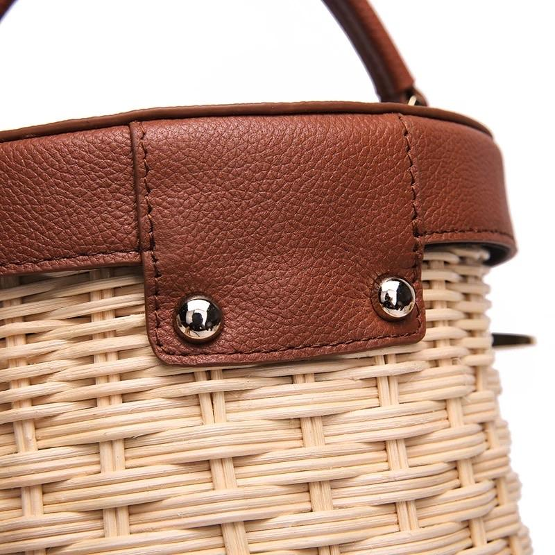 Summer Real Leather Rattan Handbag - Slowliving Lifestyle