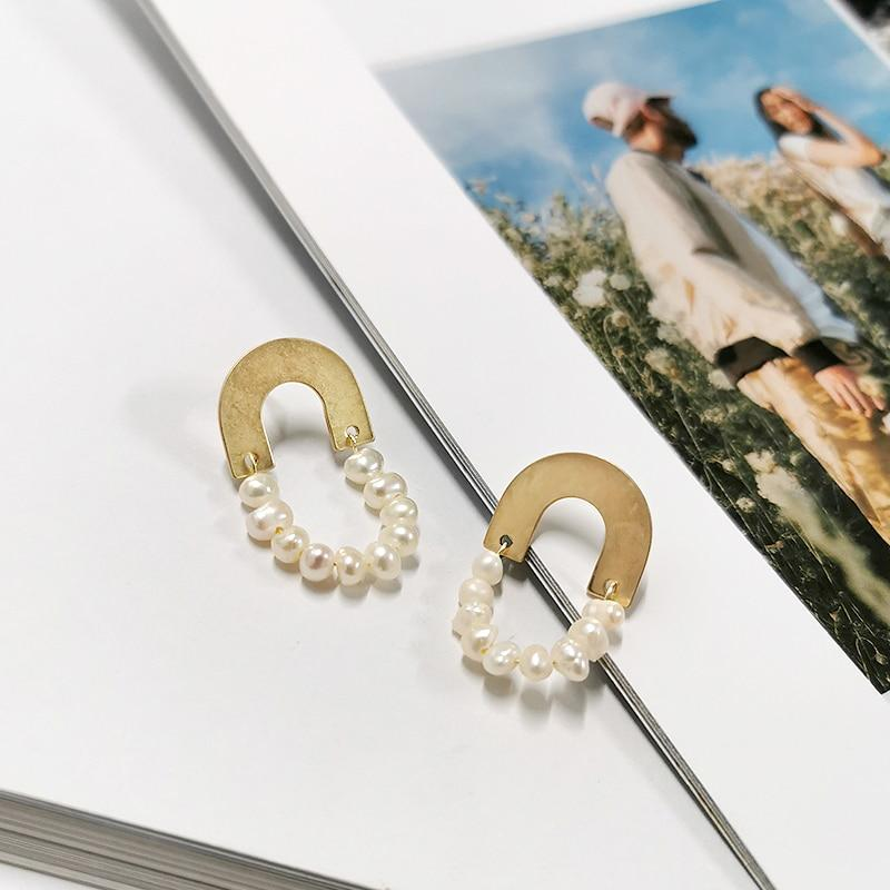 Circle Arch Brass Gold Earrings With Pearl - Slow Living Lifestyle