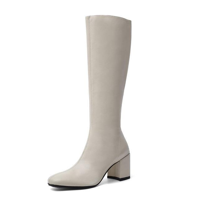 Knee High Women Boots Genuine Leather Long Shoes