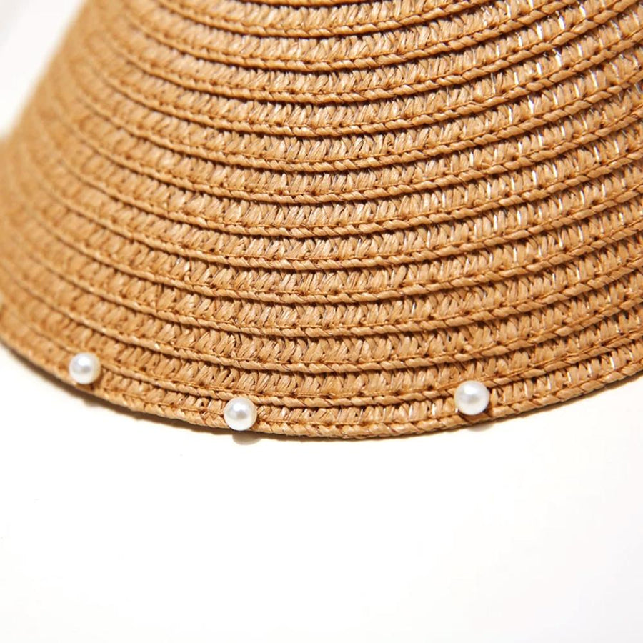 Handmade Woven Pearl Straw Sun Hat - Slow Living Lifestyle