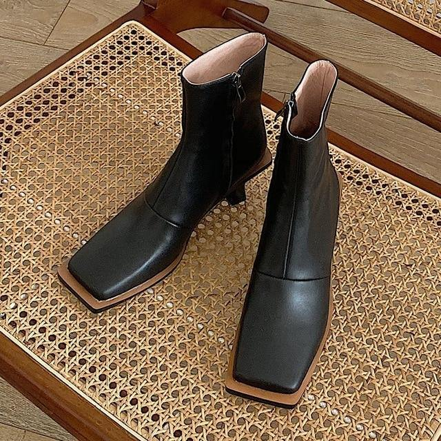 Genuine Leather Women Ankle Zipper Boots