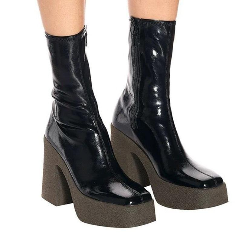 Elastic Leather Women Shoes Ankle Boots