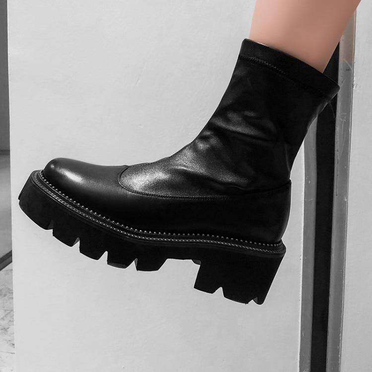 Women Boots Platform Ankle Genuine Leather Shoes