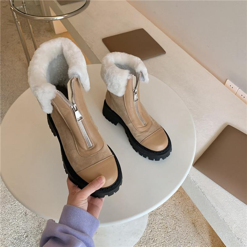 Genuine Leather Women Boots Wool Snow Shoes
