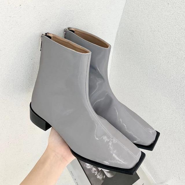 Women Martin Ankle Boots Thick Mid Heels Shoes