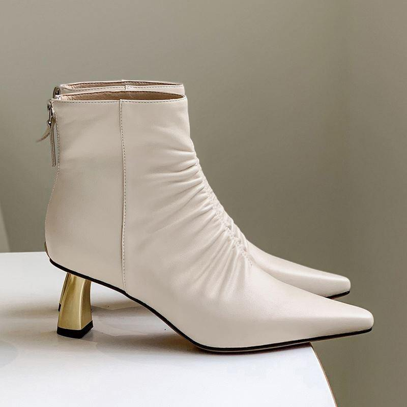 Golden heel Genuine Leather Bankle boots