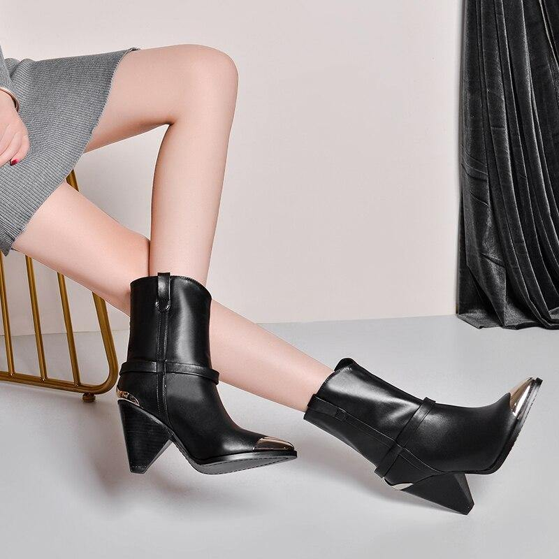 Women Runway Shoes Metal Studded Ankle Boots