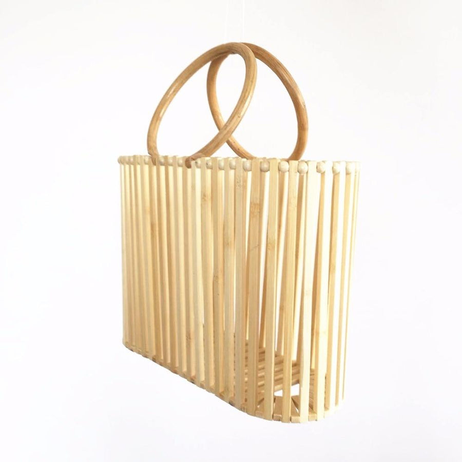 Round Rattan Handle Summer Beach Bags - Slow Living Lifestyle