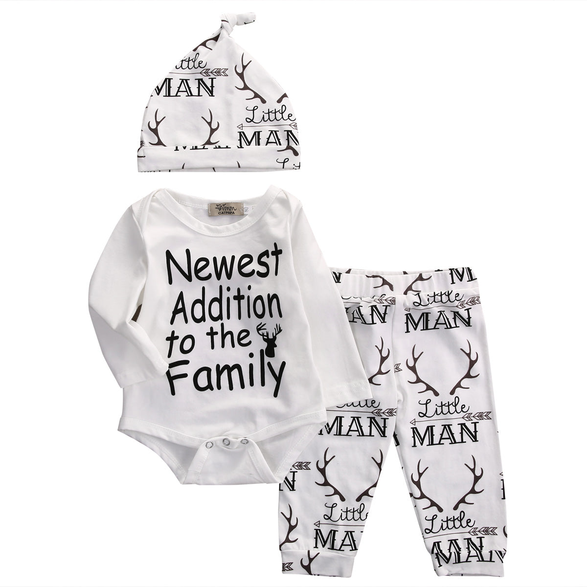 """Newest Addition to the Family"" 3-Piece White Deer Onesie Set"