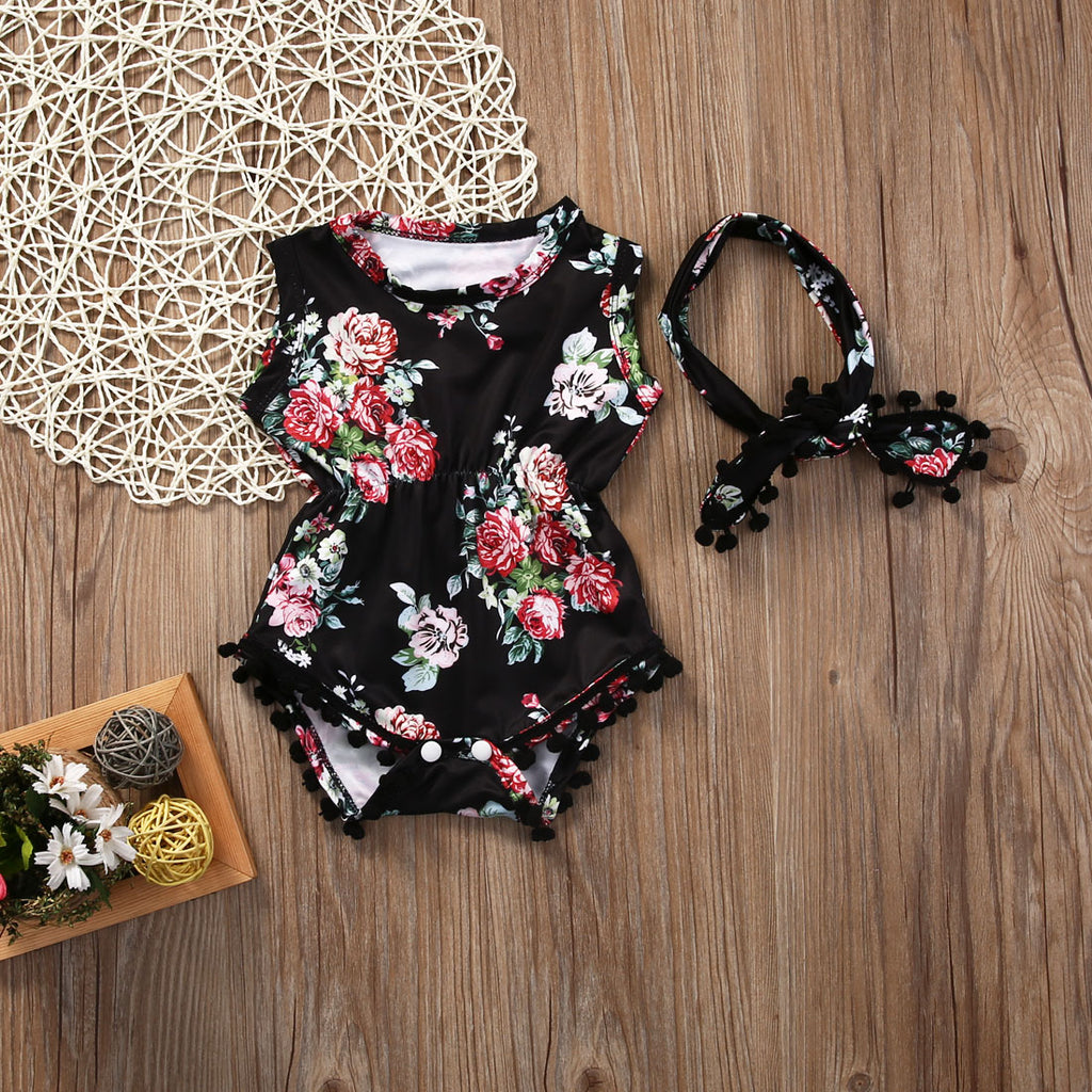 Black Floral Sleeveless Romper