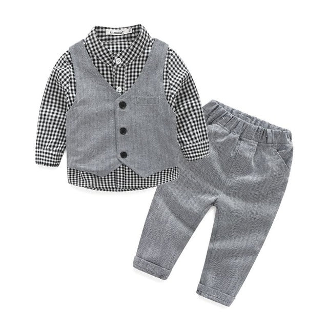 3-Piece Gray Boys Formal Wear