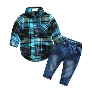 2-Piece Blue Plaid Long Sleeve and Jeans Set