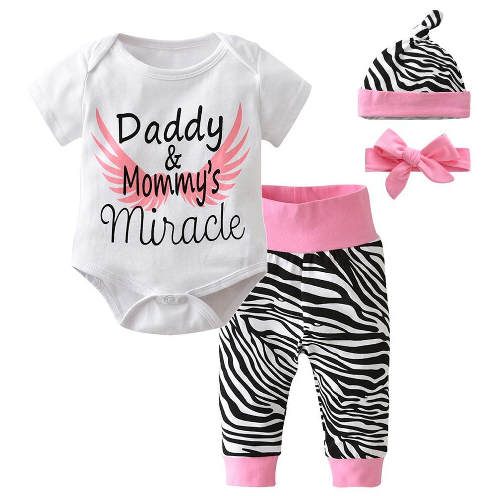 """Daddy and Mommy's Miracle"" 4-Piece Zebra Printed Set"