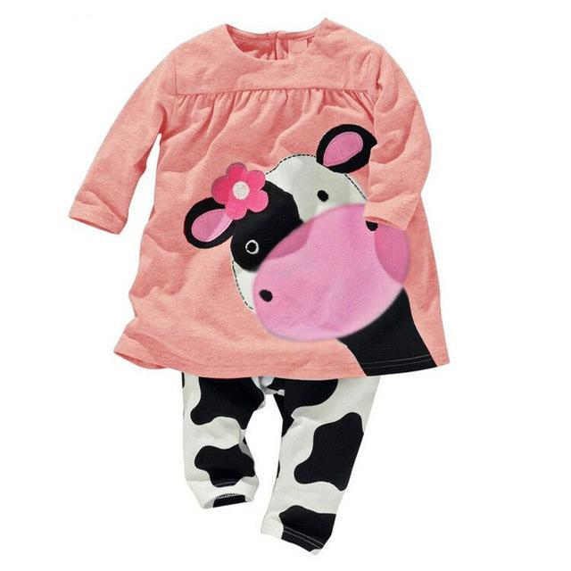 Cow 2-Piece Long Sleeve Sweatsuit Set