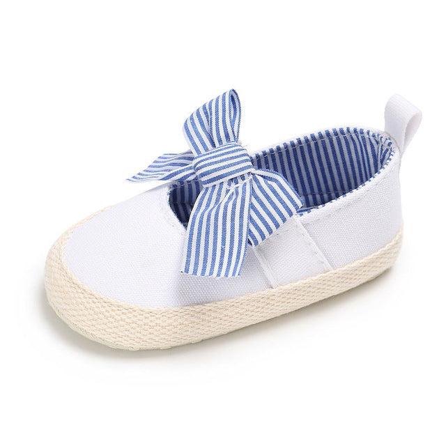 Girls Light Blue Striped Bow Soft Sole Shoe