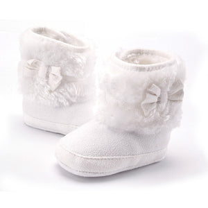 White Bowknot Soft Sole Booties