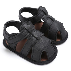 Leather Close Toe Soft Sole Sandals
