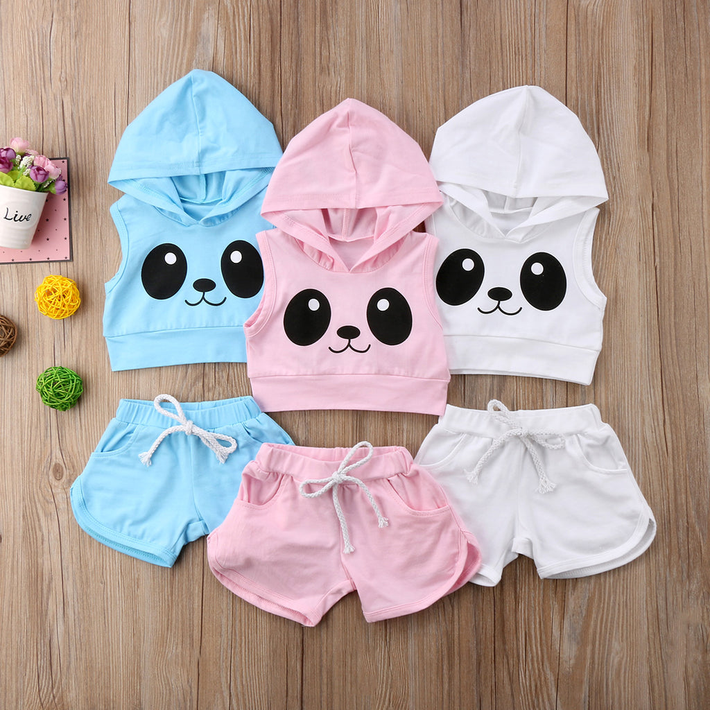 Panda Sleeveless Hoodie 2 Piece Set