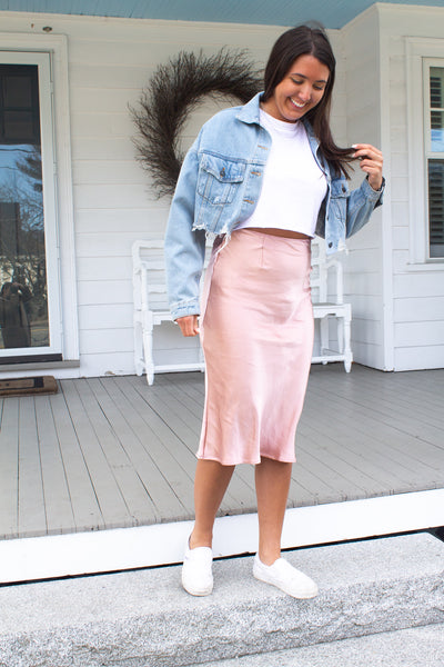 Brunch Vibes Midi Skirt - Blush Pink