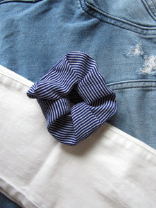 Blue and White Striped Scrunchies