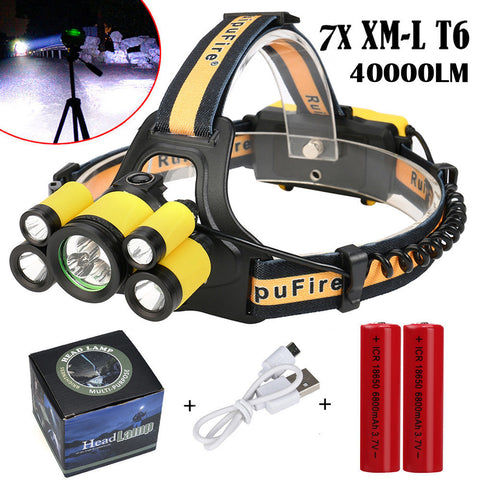 40000 LM 7X XM-L T6 LED Rechargeable Headlamp Headlight Travel Head Torch