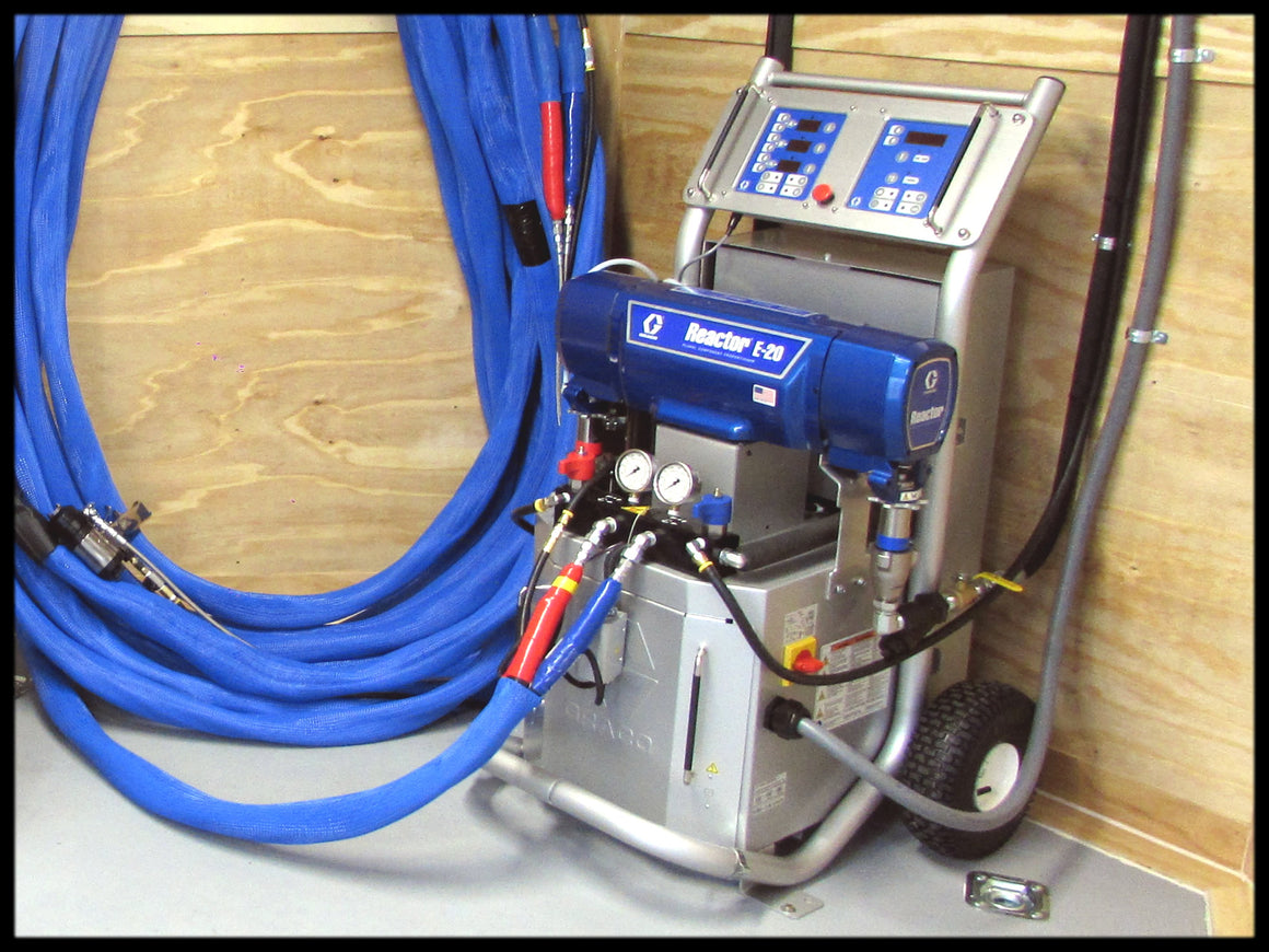 Spray Foam Insulation Machine for sale cheap.  Graco E20 spray foam rig with AP Fusion gun for sale sprays closed-cell and open-cell spray foam.