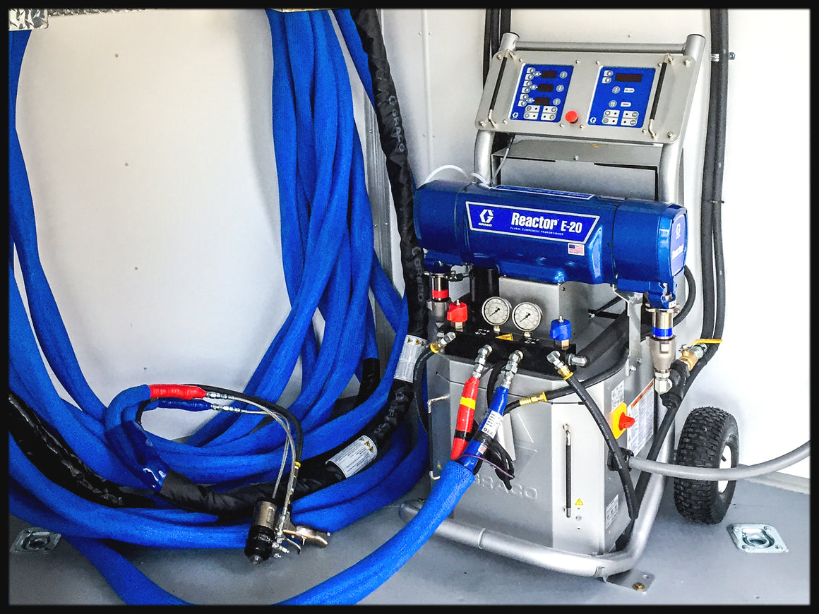Graco E20 spray foam insulation machine with mobile foam rig trailer package for sale.  Buy a Graco Spray foam insulation machine today.  Graco E20 shore power model GCB16R150