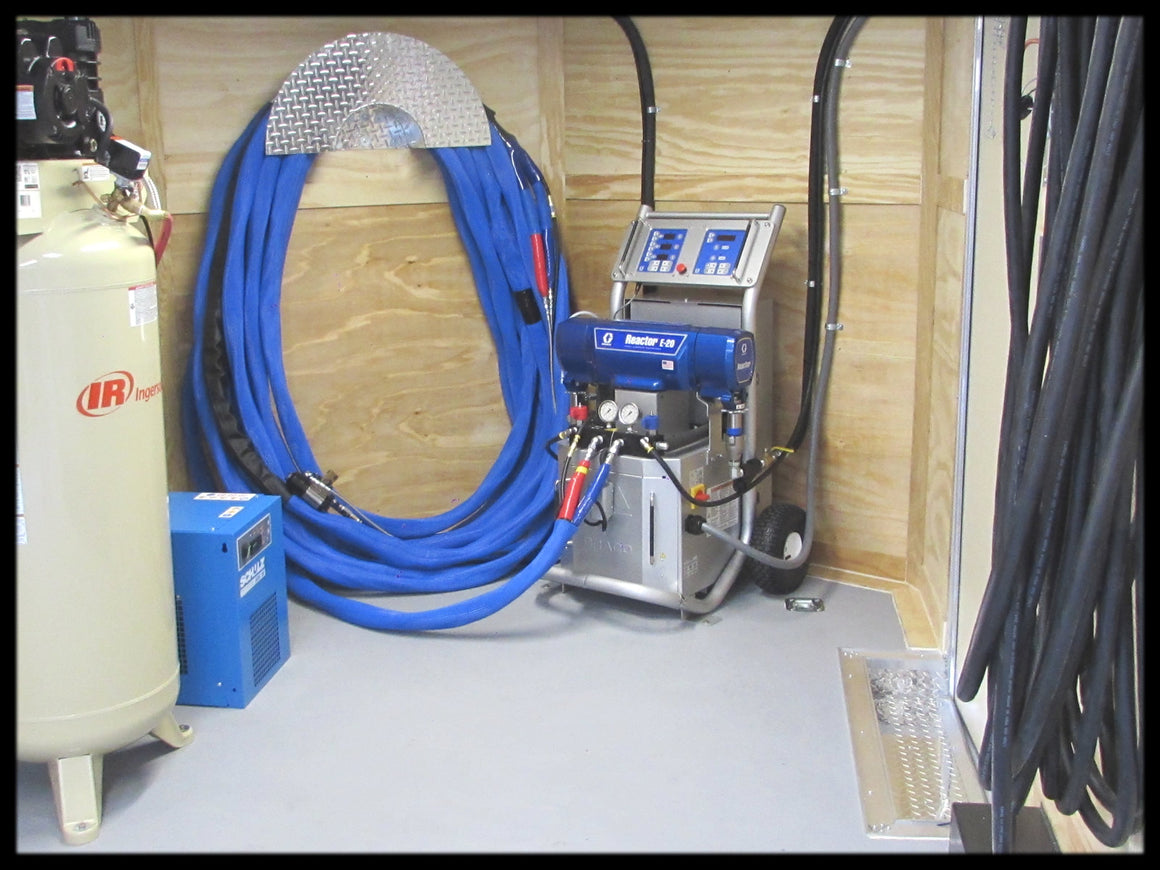 Spray Foam Insulation Machine for Sale, Graco E20 foam rig mobile trailer package model SCF16R100 with Shore power is for sale right now.