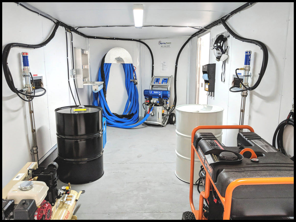 Spray Foam Insulation Rig Equipment Trailer for sale with a Graco E20 Reactor spray foam proportioner and a generator.  This is a cheap Graco spray foam rig at a good price.