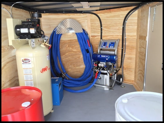 Buy a cheap spray foam rig equipment trailer that's for sale with a Graco E20 proportioner.  This is a cheapest spray foam rig ever with high quality Graco spray foam equipment.