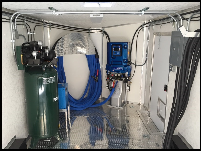 Graco E30 spray foam insulation machine trailer (spray foam rig) package with diamond-plate floors, Graco E30 spray foam rig model GracoE30-SFX16R150