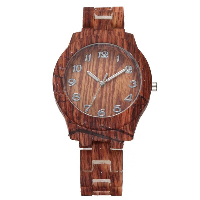 Luxury Women Roman Numerals Wooden Analog Quartz Wrist Watches