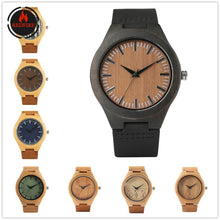Load image into Gallery viewer, Men's Wood Natural Wooden Quartz Genuine Leather Wristwatches