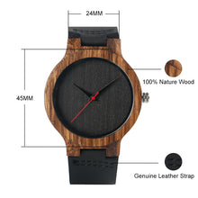 Load image into Gallery viewer, Black/Coffee/Green Dial Natural Bamboo Genuine Leather Wooden Quartz Watches