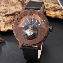 Load image into Gallery viewer, Real Walnut Ebony Bamboo Wooden Watches Turntable Compass Dial