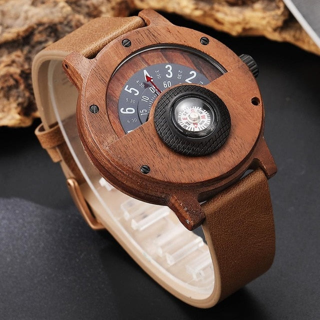 Real Walnut Ebony Bamboo Wooden Watches Turntable Compass Dial