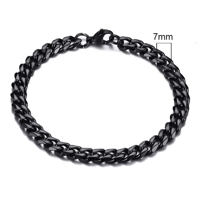Unisex Simple 3-11mm Stainless Steel Link Chain Bracelets